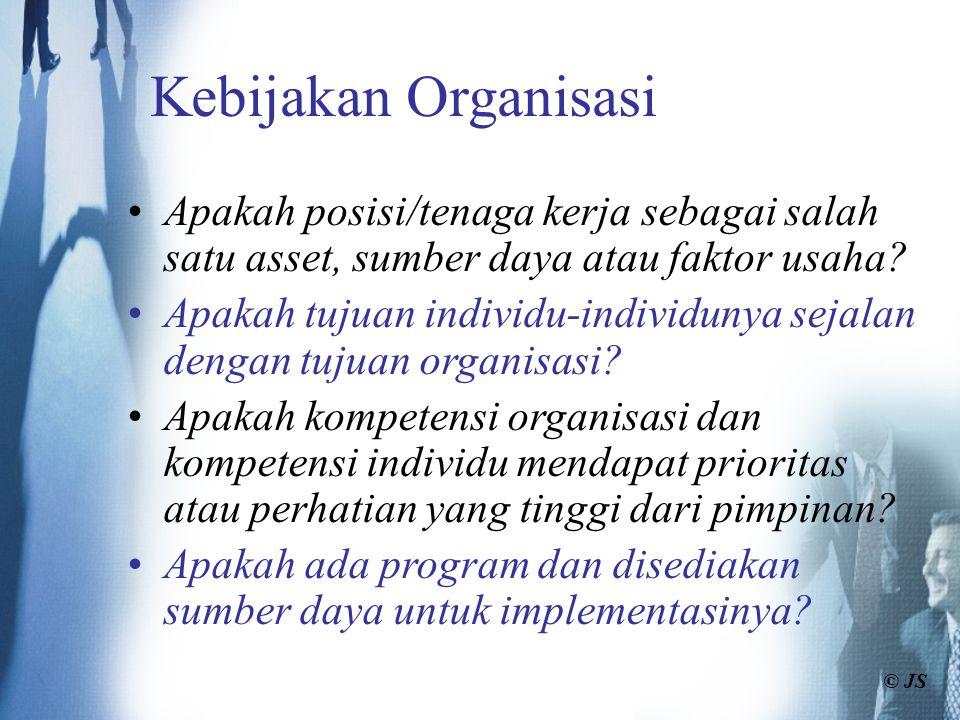 Kebijakan Organisasi Apakah posisi/tenaga kerja sebagai salah satu asset, sumber daya atau faktor usaha? Apakah tujuan individu-individunya sejalan de