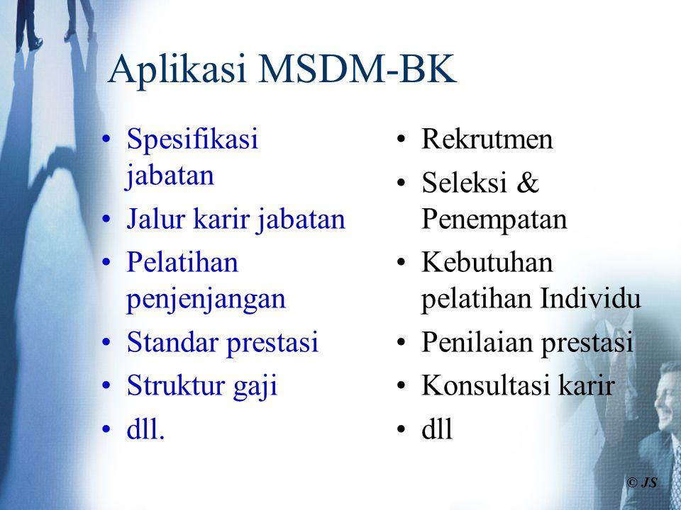 Aplikasi MSDM-BK Spesifikasi jabatan Jalur karir jabatan Pelatihan penjenjangan Standar prestasi Struktur gaji dll. Rekrutmen Seleksi & Penempatan Keb