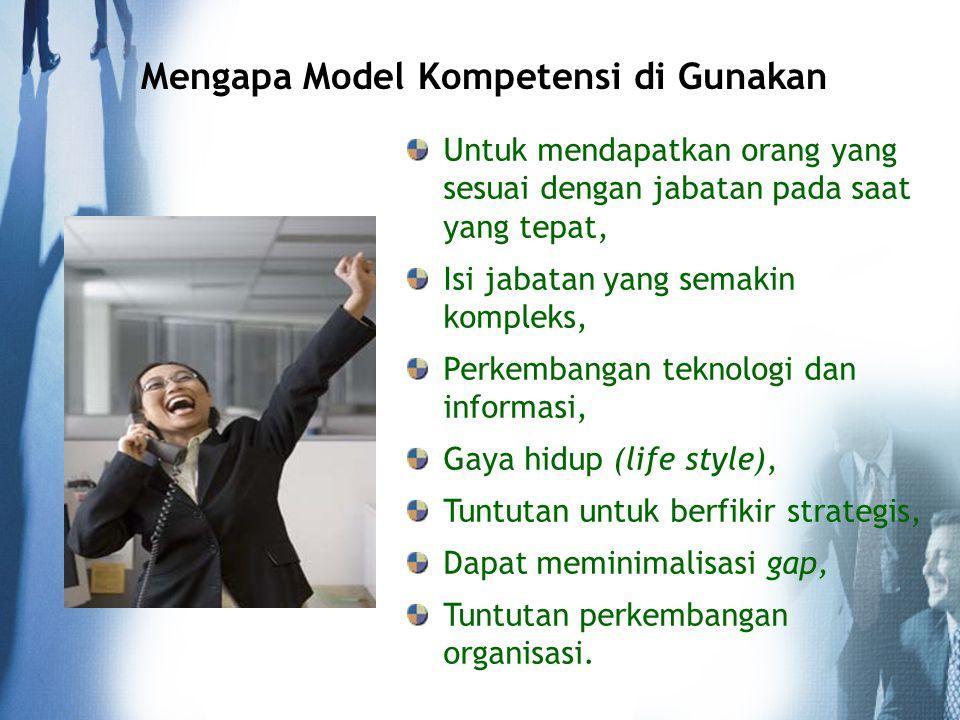 Mengapa Model Kompetensi di Gunakan Untuk mendapatkan orang yang sesuai dengan jabatan pada saat yang tepat, Isi jabatan yang semakin kompleks, Perkem