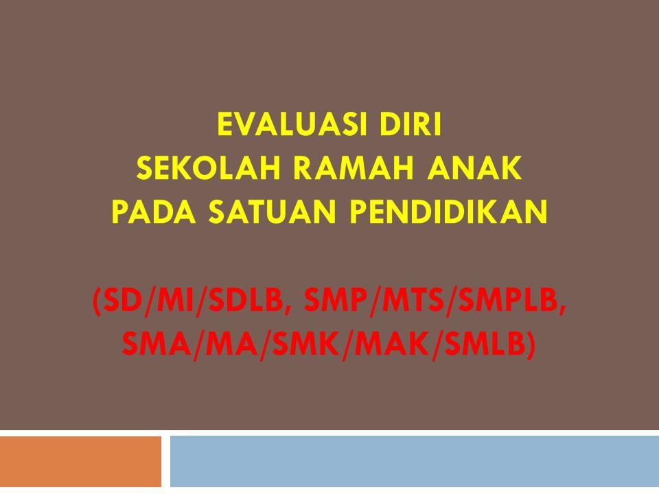 EVALUASI DIRI SEKOLAH RAMAH ANAK PADA SATUAN PENDIDIKAN (SD/MI/SDLB, SMP/MTS/SMPLB, SMA/MA/SMK/MAK/SMLB)
