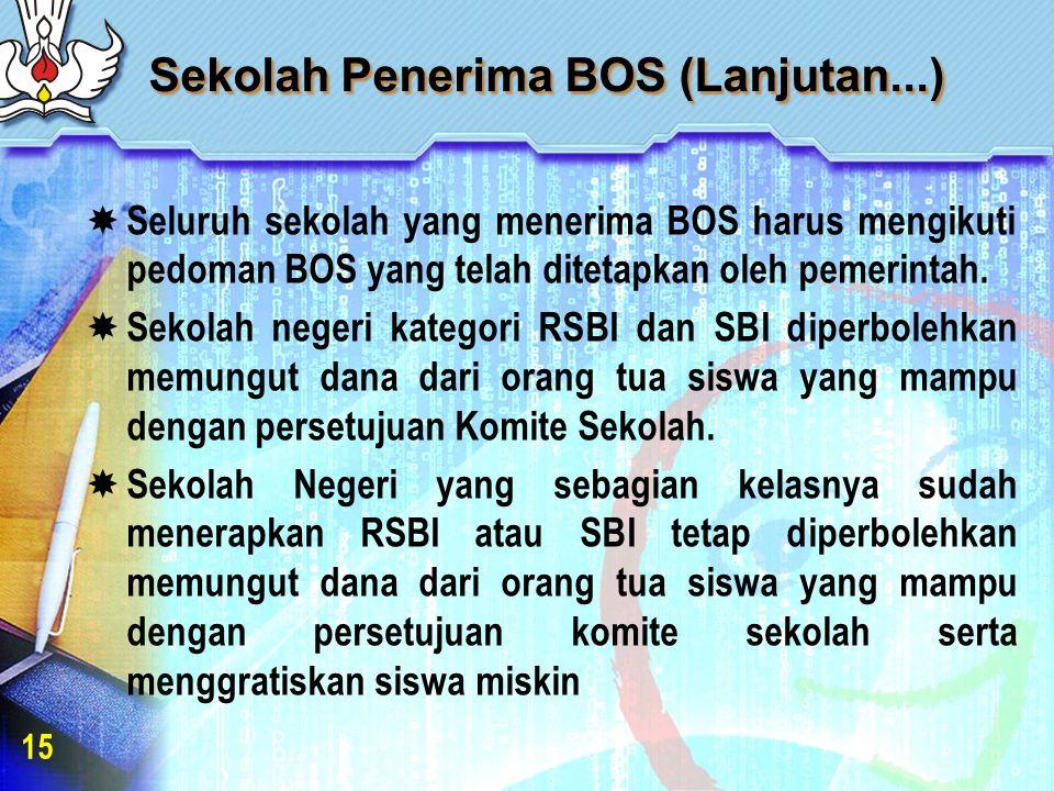 Sekolah Penerima BOS (Lanjutan...)  Seluruh sekolah yang menerima BOS harus mengikuti pedoman BOS yang telah ditetapkan oleh pemerintah.