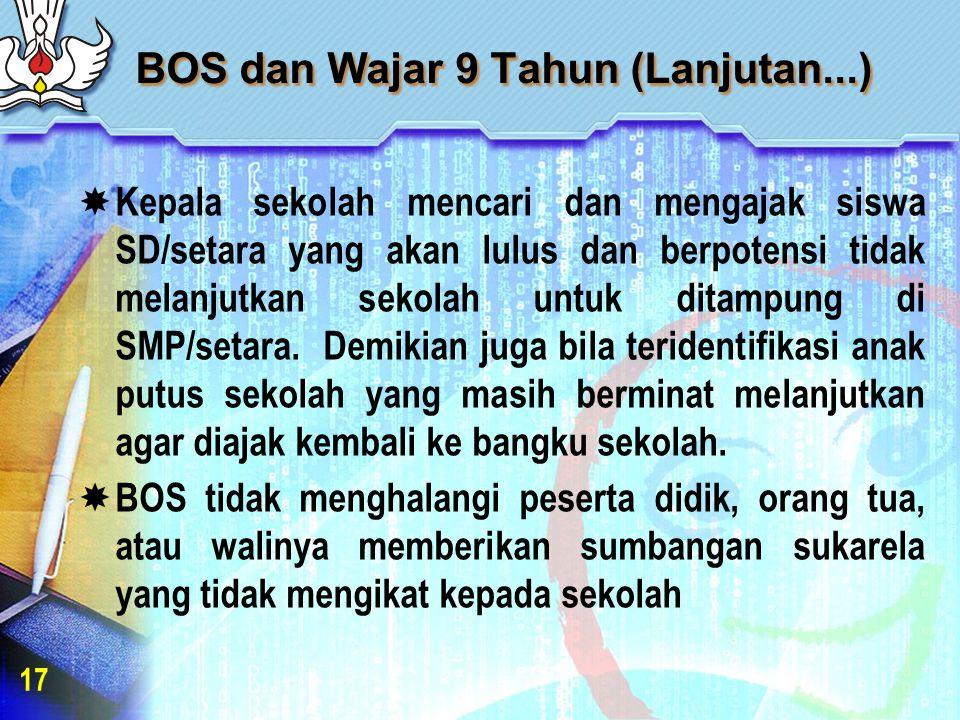 BOS dan Wajar 9 Tahun (Lanjutan...)  Kepala sekolah mencari dan mengajak siswa SD/setara yang akan lulus dan berpotensi tidak melanjutkan sekolah untuk ditampung di SMP/setara.