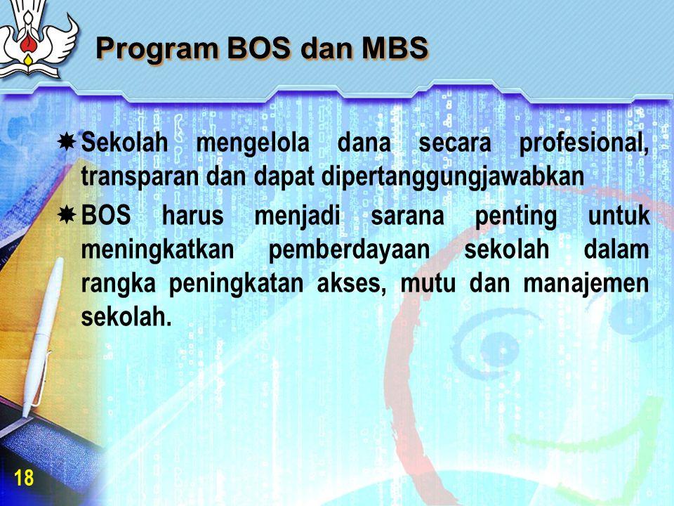 Program BOS dan MBS  Sekolah mengelola dana secara profesional, transparan dan dapat dipertanggungjawabkan  BOS harus menjadi sarana penting untuk meningkatkan pemberdayaan sekolah dalam rangka peningkatan akses, mutu dan manajemen sekolah.