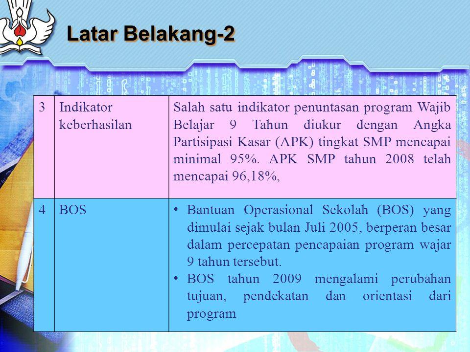 Latar Belakang-2 3Indikator keberhasilan Salah satu indikator penuntasan program Wajib Belajar 9 Tahun diukur dengan Angka Partisipasi Kasar (APK) tingkat SMP mencapai minimal 95%.