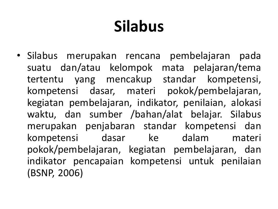 Silabus Silabus merupakan rencana pembelajaran pada suatu dan/atau kelompok mata pelajaran/tema tertentu yang mencakup standar kompetensi, kompetensi