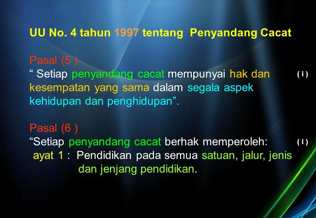 """13 UU No. 4 tahun 1997 tentang Penyandang Cacat Pasal (5 ) """" Setiap penyandang cacat mempunyai hak dan kesempatan yang sama dalam segala aspek kehidup"""