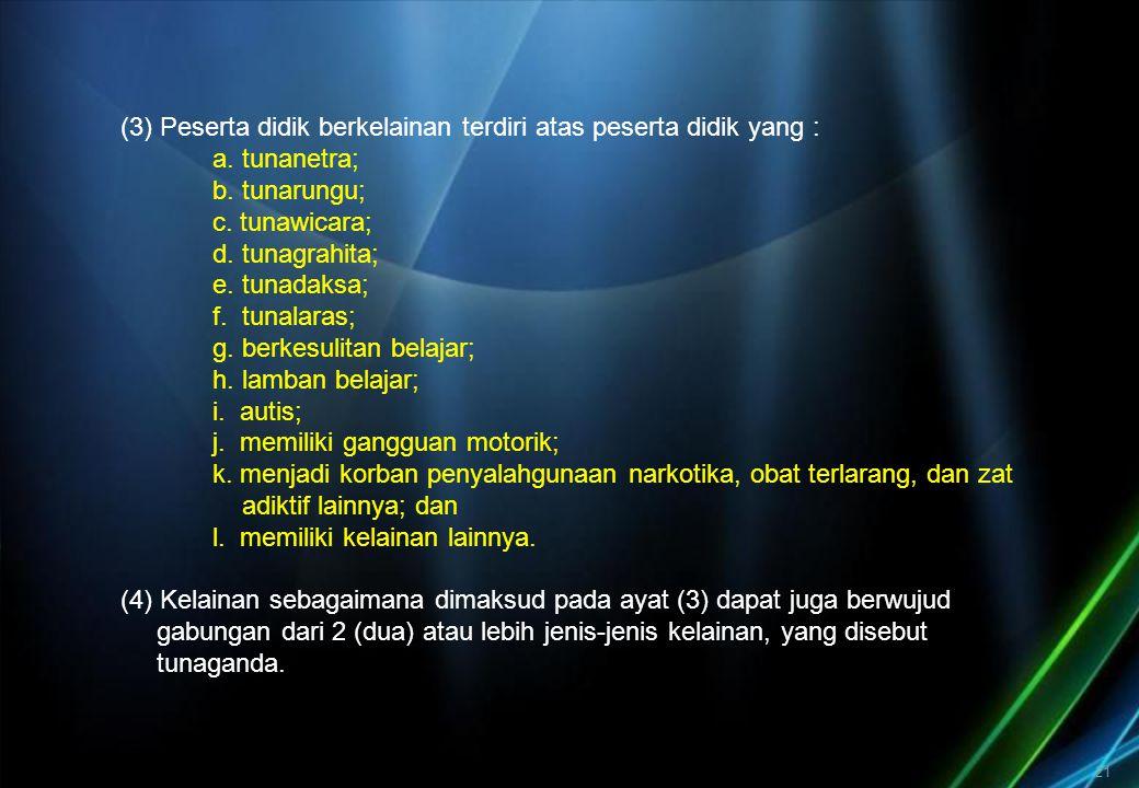 (3) Peserta didik berkelainan terdiri atas peserta didik yang : a. tunanetra; b. tunarungu; c. tunawicara; d. tunagrahita; e. tunadaksa; f. tunalaras;