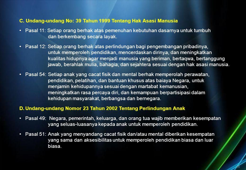 66 C. Undang-undang No: 39 Tahun 1999 Tentang Hak Asasi Manusia Pasal 11: Setiap orang berhak atas pemenuhan kebutuhan dasarnya untuk tumbuh dan berke