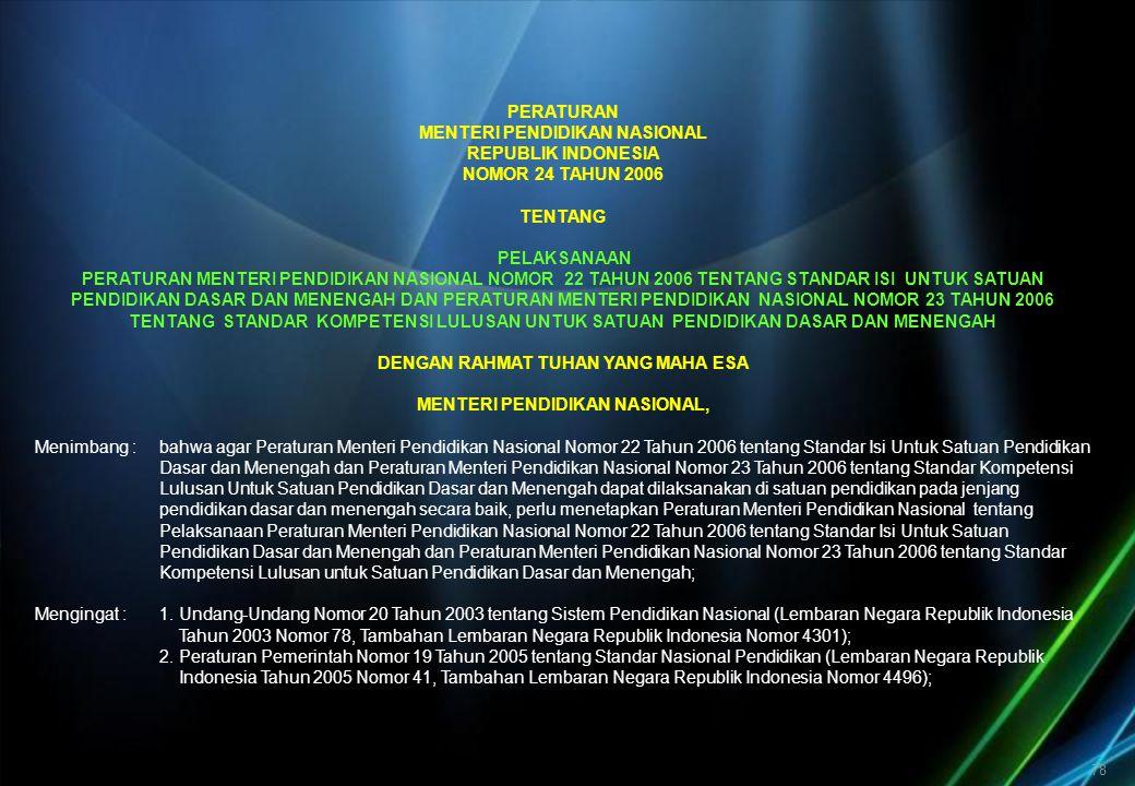 78 PERATURAN MENTERI PENDIDIKAN NASIONAL REPUBLIK INDONESIA NOMOR 24 TAHUN 2006 TENTANG PELAKSANAAN PERATURAN MENTERI PENDIDIKAN NASIONAL NOMOR 22 TAH