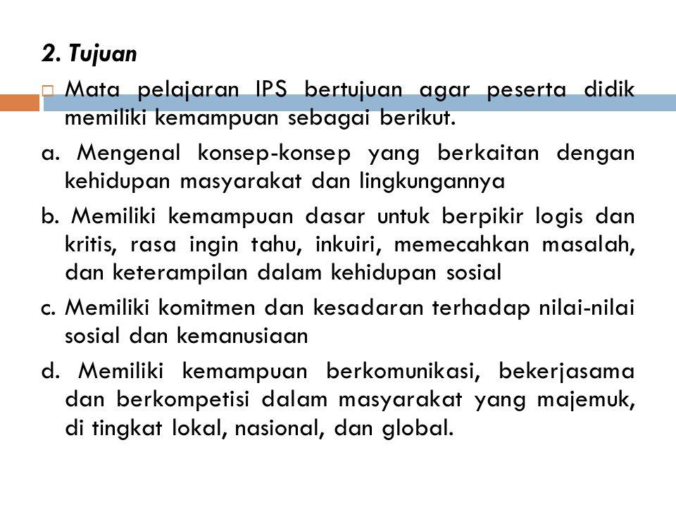 2.Tujuan  Mata pelajaran IPS bertujuan agar peserta didik memiliki kemampuan sebagai berikut.