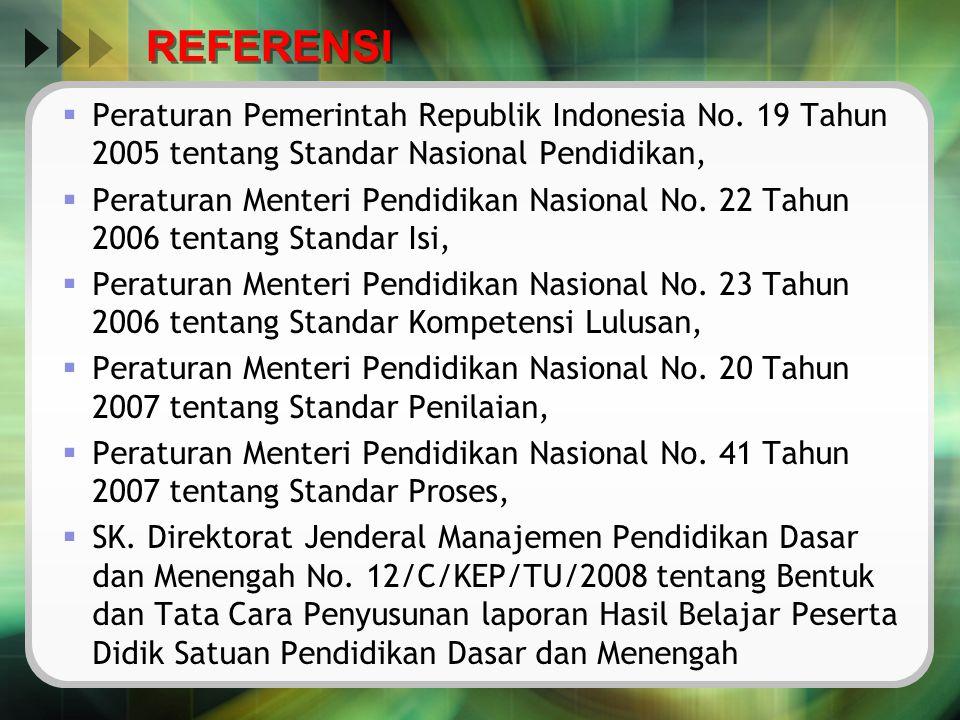 REFERENSI  Peraturan Pemerintah Republik Indonesia No. 19 Tahun 2005 tentang Standar Nasional Pendidikan,  Peraturan Menteri Pendidikan Nasional No.