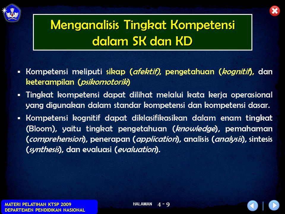 HALAMAN MATERI PELATIHAN KTSP 2009 DEPARTEMEN PENDIDIKAN NASIONAL 4 - 9  Kompetensi meliputi sikap (afektif), pengetahuan (kognitif), dan keterampila