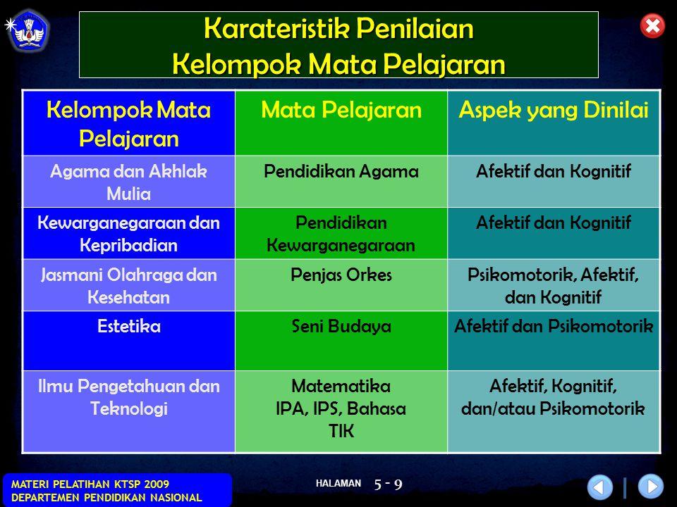 HALAMAN MATERI PELATIHAN KTSP 2009 DEPARTEMEN PENDIDIKAN NASIONAL 5 - 9 Karateristik Penilaian Kelompok Mata Pelajaran Mata PelajaranAspek yang Dinila