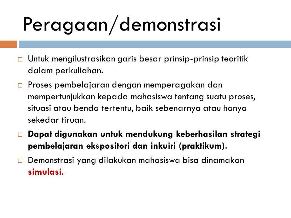 Peragaan/demonstrasi  Untuk mengilustrasikan garis besar prinsip-prinsip teoritik dalam perkuliahan.  Proses pembelajaran dengan memperagakan dan me