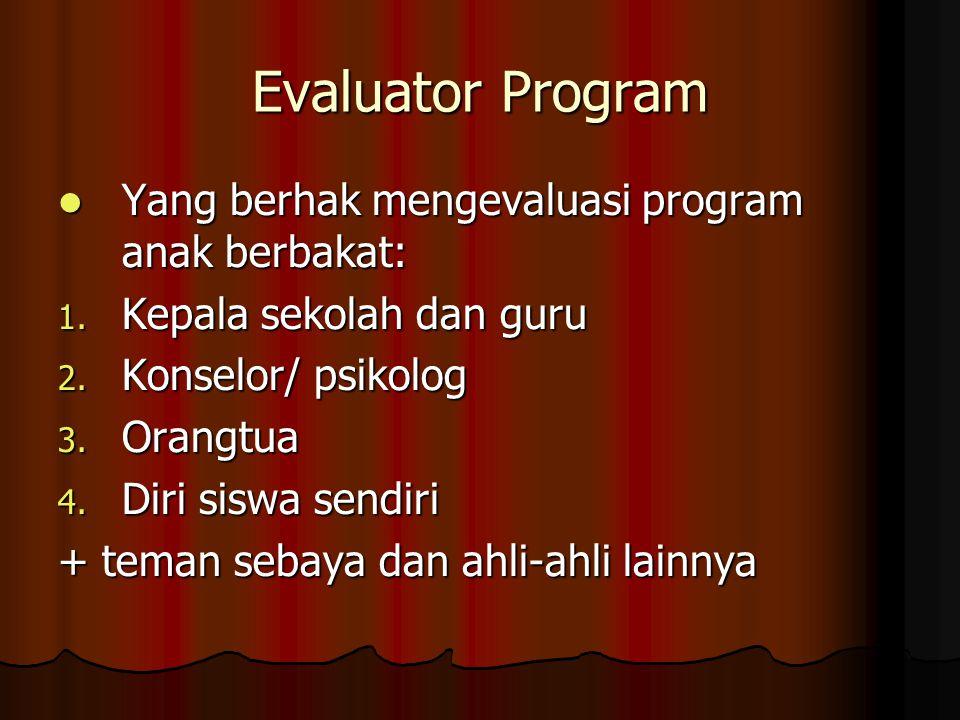 Komponen Program yang Dievaluasi 1.Sasaran belajar: a.