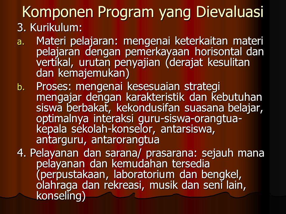 Komponen Program yang Dievaluasi 3. Kurikulum: a.
