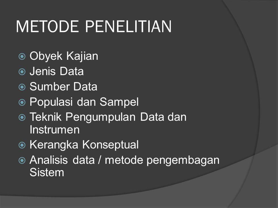 METODE PENELITIAN  Obyek Kajian  Jenis Data  Sumber Data  Populasi dan Sampel  Teknik Pengumpulan Data dan Instrumen  Kerangka Konseptual  Anal