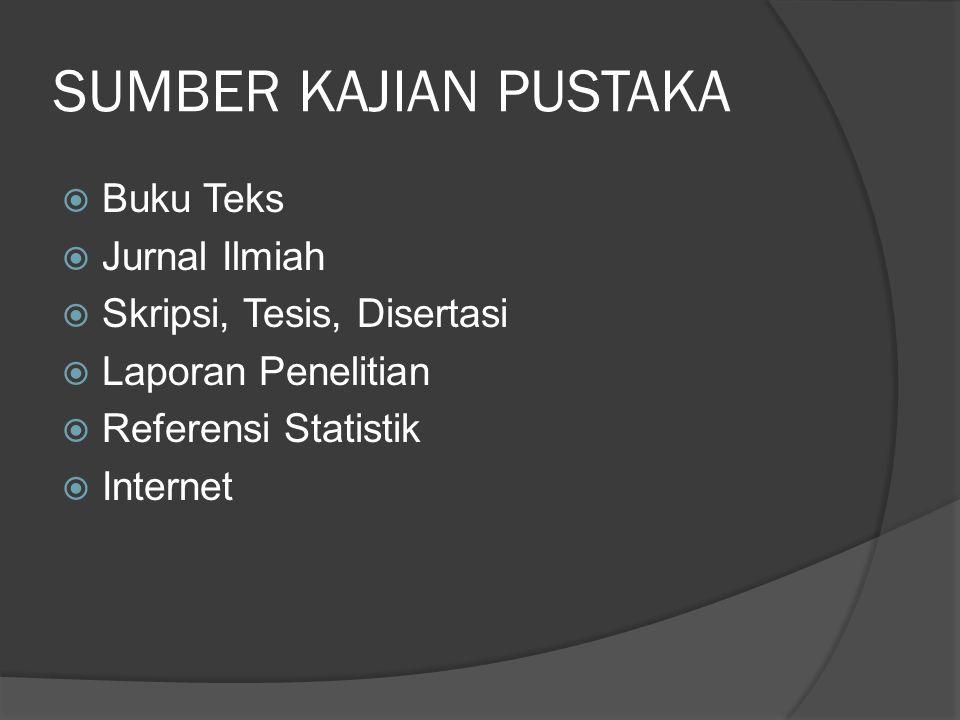 SUMBER KAJIAN PUSTAKA  Buku Teks  Jurnal Ilmiah  Skripsi, Tesis, Disertasi  Laporan Penelitian  Referensi Statistik  Internet