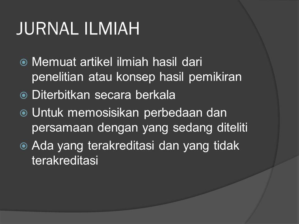 JURNAL ILMIAH  Memuat artikel ilmiah hasil dari penelitian atau konsep hasil pemikiran  Diterbitkan secara berkala  Untuk memosisikan perbedaan dan