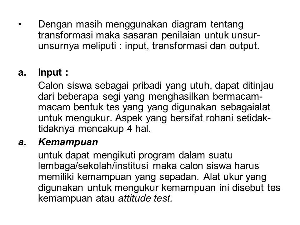 Dengan masih menggunakan diagram tentang transformasi maka sasaran penilaian untuk unsur- unsurnya meliputi : input, transformasi dan output. a.Input