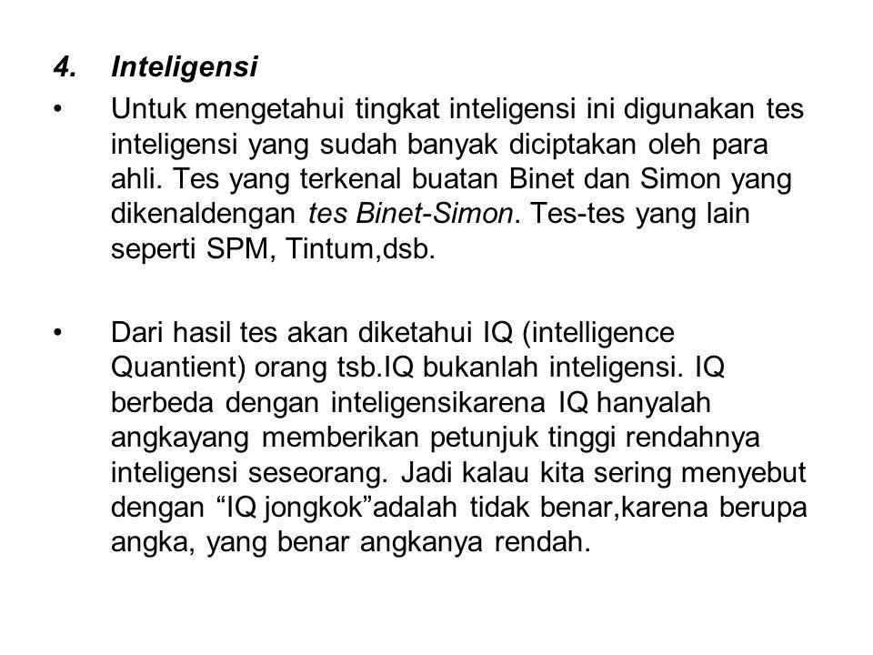 4.Inteligensi Untuk mengetahui tingkat inteligensi ini digunakan tes inteligensi yang sudah banyak diciptakan oleh para ahli. Tes yang terkenal buatan