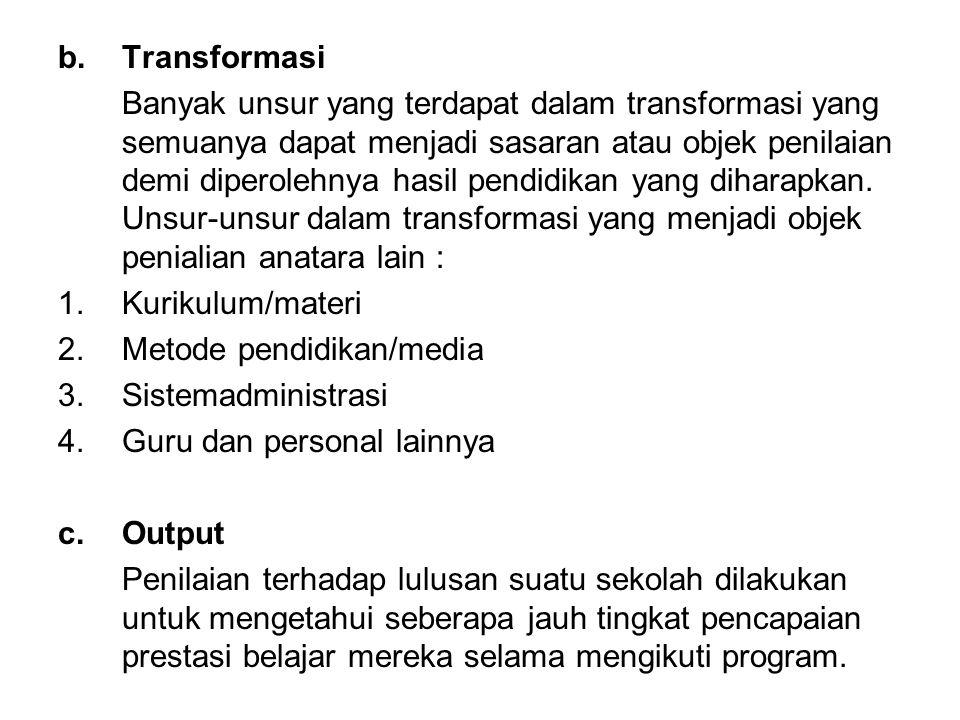 b.Transformasi Banyak unsur yang terdapat dalam transformasi yang semuanya dapat menjadi sasaran atau objek penilaian demi diperolehnya hasil pendidik