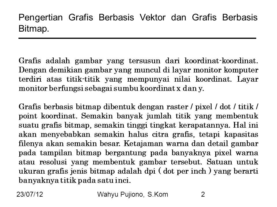 23/07/12Wahyu Pujiono, S.Kom2 Pengertian Grafis Berbasis Vektor dan Grafis Berbasis Bitmap. Grafis adalah gambar yang tersusun dari koordinat-koordina