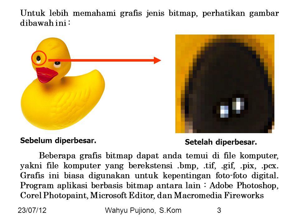 23/07/12Wahyu Pujiono, S.Kom3 Untuk lebih memahami grafis jenis bitmap, perhatikan gambar dibawah ini : Sebelum diperbesar. Setelah diperbesar. Bebera