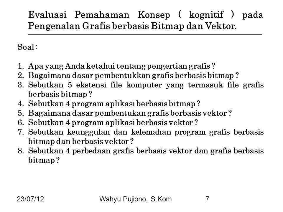 23/07/12Wahyu Pujiono, S.Kom7 Evaluasi Pemahaman Konsep ( kognitif ) pada Pengenalan Grafis berbasis Bitmap dan Vektor. Soal : 1.Apa yang Anda ketahui