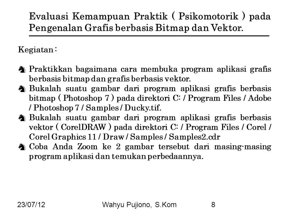 23/07/12Wahyu Pujiono, S.Kom8 Evaluasi Kemampuan Praktik ( Psikomotorik ) pada Pengenalan Grafis berbasis Bitmap dan Vektor. Kegiatan : ♞ Praktikkan b