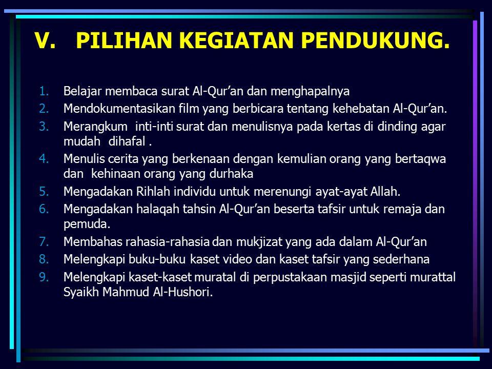 V. PILIHAN KEGIATAN PENDUKUNG. 1.Belajar membaca surat Al-Qur'an dan menghapalnya 2.Mendokumentasikan film yang berbicara tentang kehebatan Al-Qur'an.