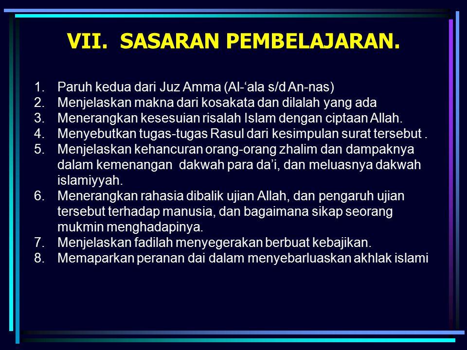 VII. SASARAN PEMBELAJARAN. 1.Paruh kedua dari Juz Amma (Al-'ala s/d An-nas) 2.Menjelaskan makna dari kosakata dan dilalah yang ada 3.Menerangkan keses