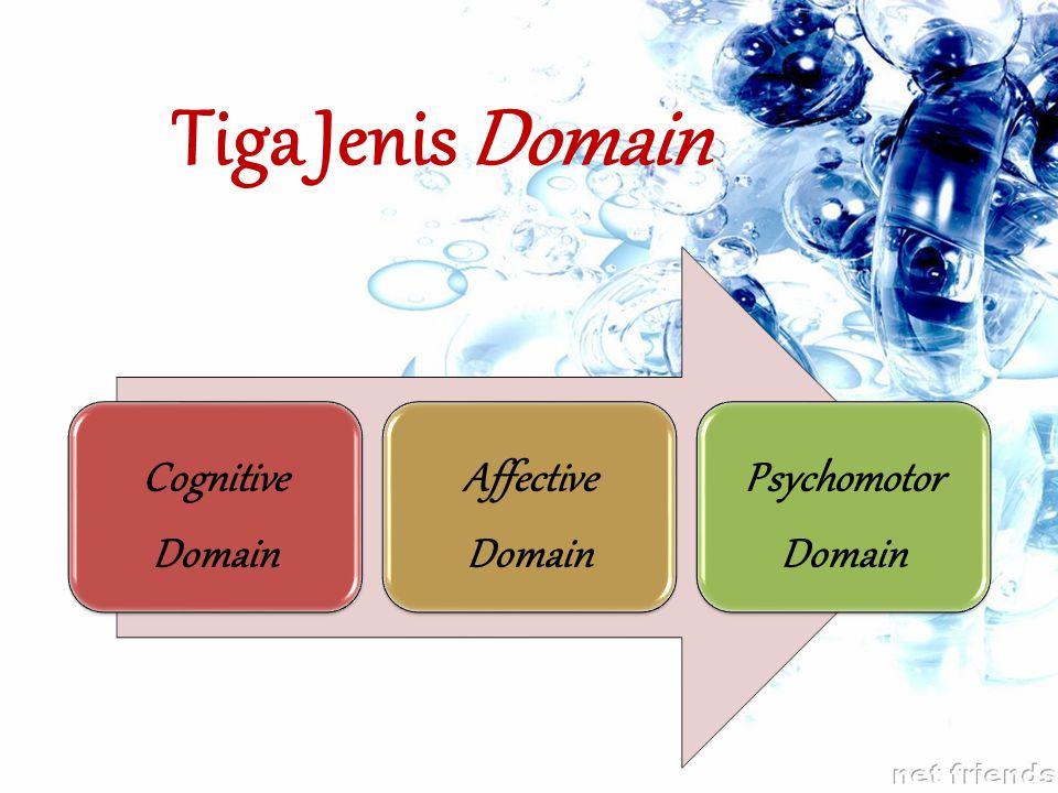 Tiga Jenis Domain Cognitive Domain Affective Domain Psychomotor Domain