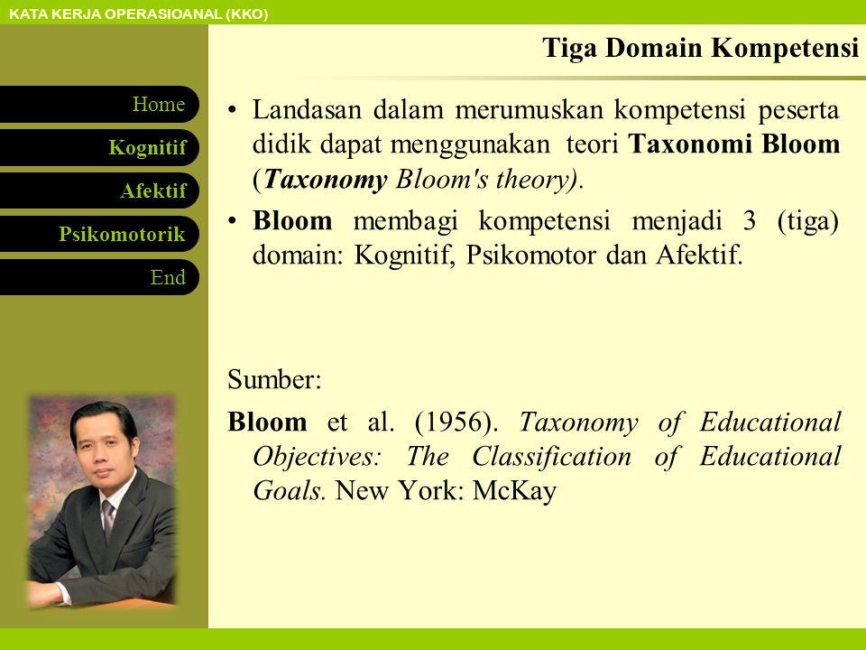 KATA KERJA OPERASIOANAL (KKO) Afektif Psikomotorik Kognitif Home End Tiga Domain Kompetensi Landasan dalam merumuskan kompetensi peserta didik dapat menggunakan teori Taxonomi Bloom (Taxonomy Bloom s theory).