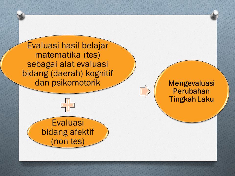 Evaluasi hasil belajar matematika (tes) sebagai alat evaluasi bidang (daerah) kognitif dan psikomotorik Evaluasi bidang afektif (non tes) Mengevaluasi