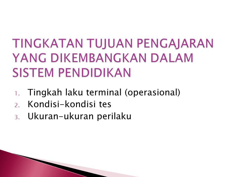 1. Tingkah laku terminal (operasional) 2. Kondisi-kondisi tes 3. Ukuran-ukuran perilaku