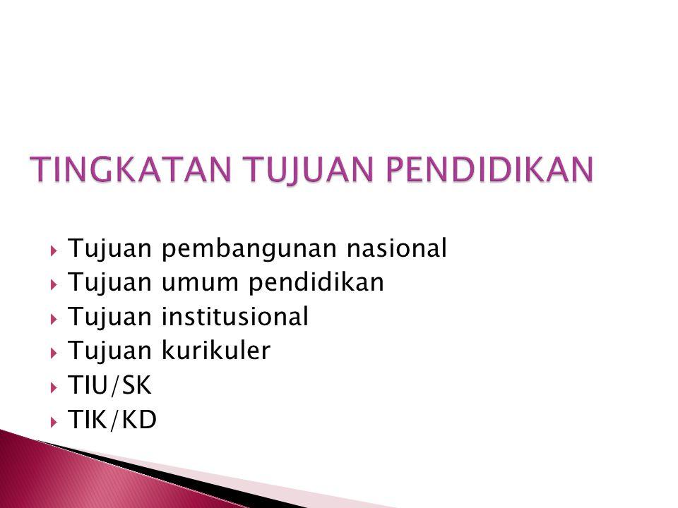  Tujuan pembangunan nasional  Tujuan umum pendidikan  Tujuan institusional  Tujuan kurikuler  TIU/SK  TIK/KD