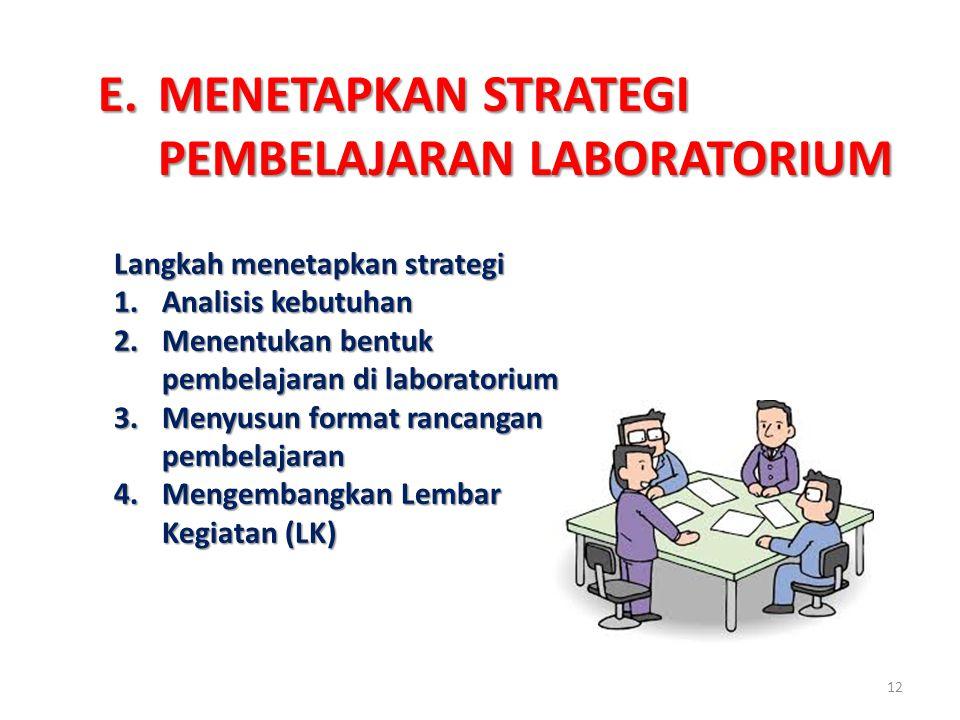 E.MENETAPKAN STRATEGI PEMBELAJARAN LABORATORIUM Langkah menetapkan strategi 1.Analisis kebutuhan 2.Menentukan bentuk pembelajaran di laboratorium 3.Me