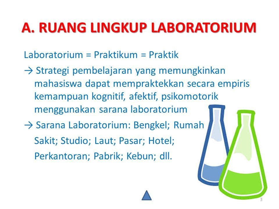 A. RUANG LINGKUP LABORATORIUM Laboratorium = Praktikum = Praktik → Strategi pembelajaran yang memungkinkan mahasiswa dapat mempraktekkan secara empiri