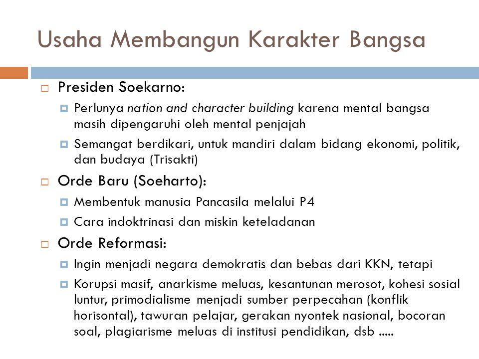 Usaha Membangun Karakter Bangsa  Presiden Soekarno:  Perlunya nation and character building karena mental bangsa masih dipengaruhi oleh mental penja