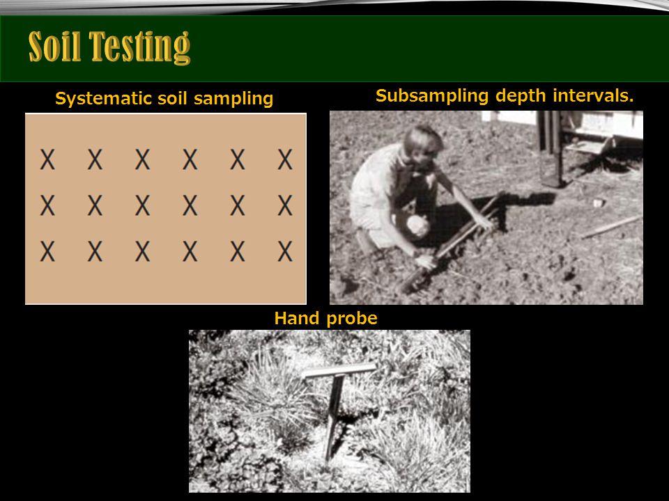 Subsampling depth intervals. Systematic soil sampling Hand probe