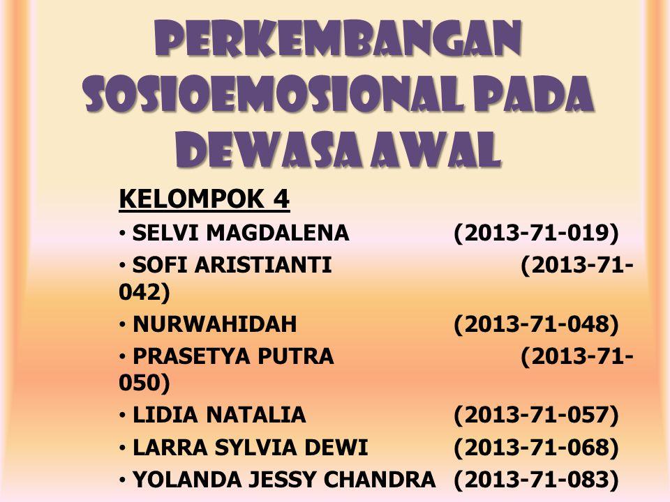PERKEMBANGAN SOSIOEMOSIONAL PADA DEWASA AWAL KELOMPOK 4 SELVI MAGDALENA(2013-71-019) SOFI ARISTIANTI(2013-71- 042) NURWAHIDAH(2013-71-048) PRASETYA PUTRA(2013-71- 050) LIDIA NATALIA(2013-71-057) LARRA SYLVIA DEWI(2013-71-068) YOLANDA JESSY CHANDRA (2013-71-083) MURNIATI(2013-71-162)