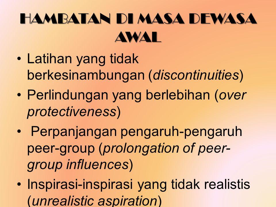 HAMBATAN DI MASA DEWASA AWAL Latihan yang tidak berkesinambungan (discontinuities) Perlindungan yang berlebihan (over protectiveness) Perpanjangan pengaruh-pengaruh peer-group (prolongation of peer- group influences) Inspirasi-inspirasi yang tidak realistis (unrealistic aspiration)