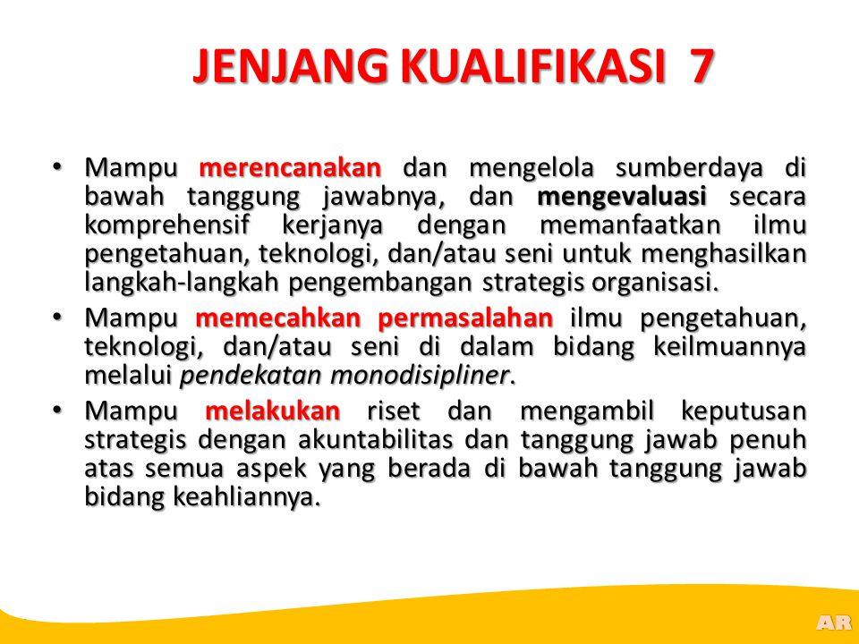 @R AR JENJANG KUALIFIKASI 7 Mampu merencanakan dan mengelola sumberdaya di bawah tanggung jawabnya, dan mengevaluasi secara komprehensif kerjanya deng