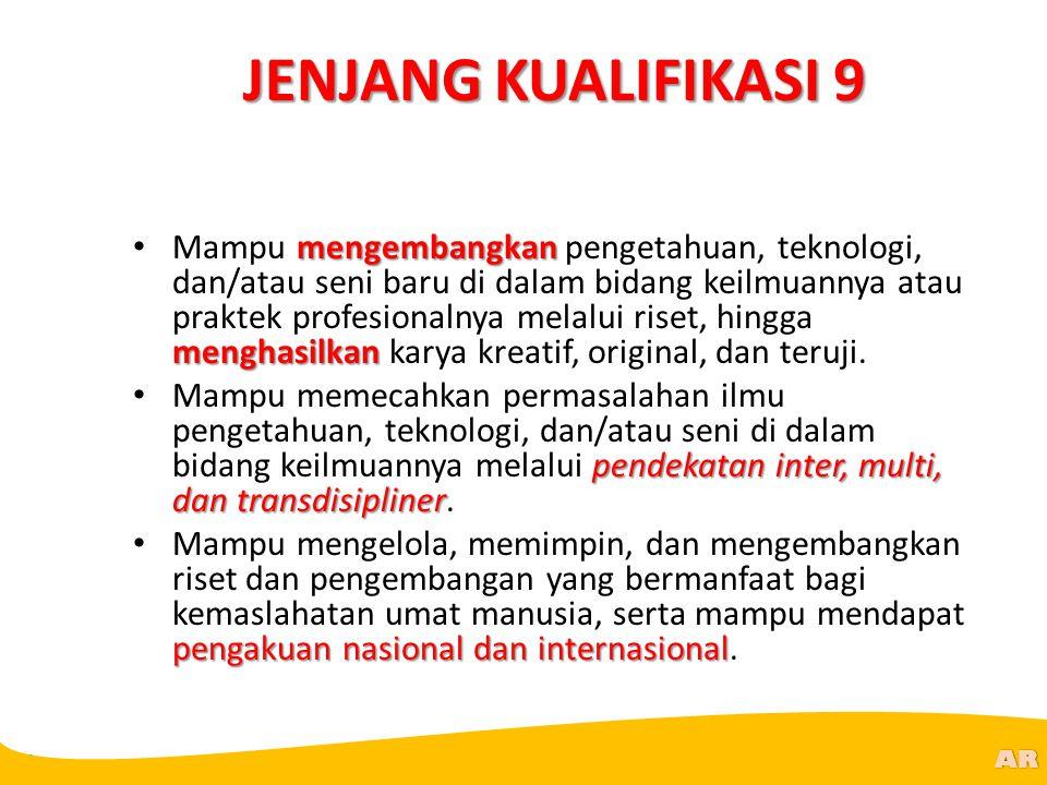 @R AR JENJANG KUALIFIKASI 9 mengembangkan menghasilkan Mampu mengembangkan pengetahuan, teknologi, dan/atau seni baru di dalam bidang keilmuannya atau