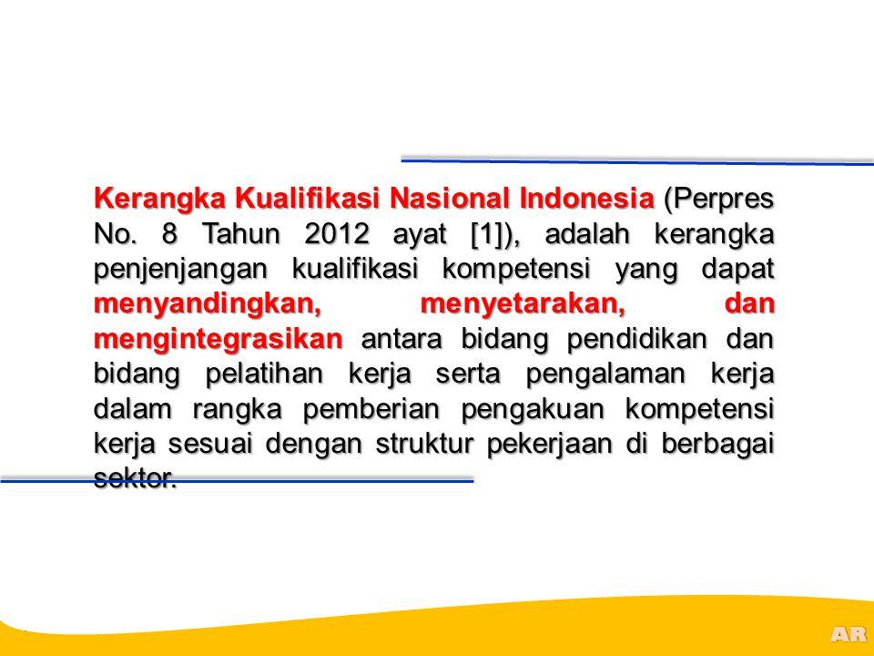 @R AR Kerangka Kualifikasi Nasional Indonesia (Perpres No. 8 Tahun 2012 ayat [1]), adalah kerangka penjenjangan kualifikasi kompetensi yang dapat meny