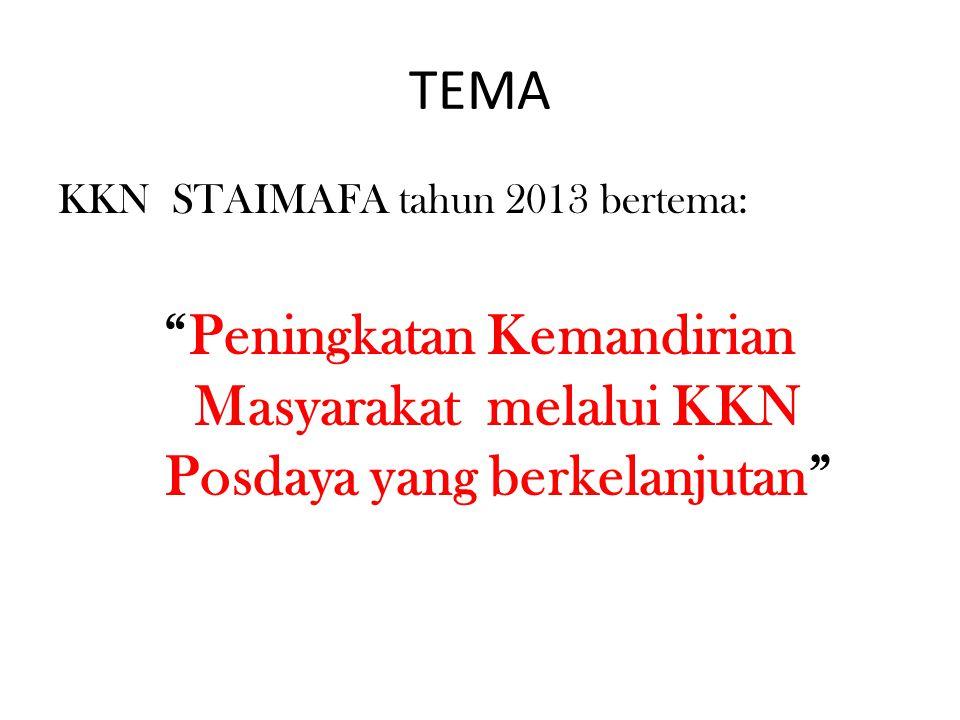 TEMA KKN STAIMAFA tahun 2013 bertema: Peningkatan Kemandirian Masyarakat melalui KKN Posdaya yang berkelanjutan