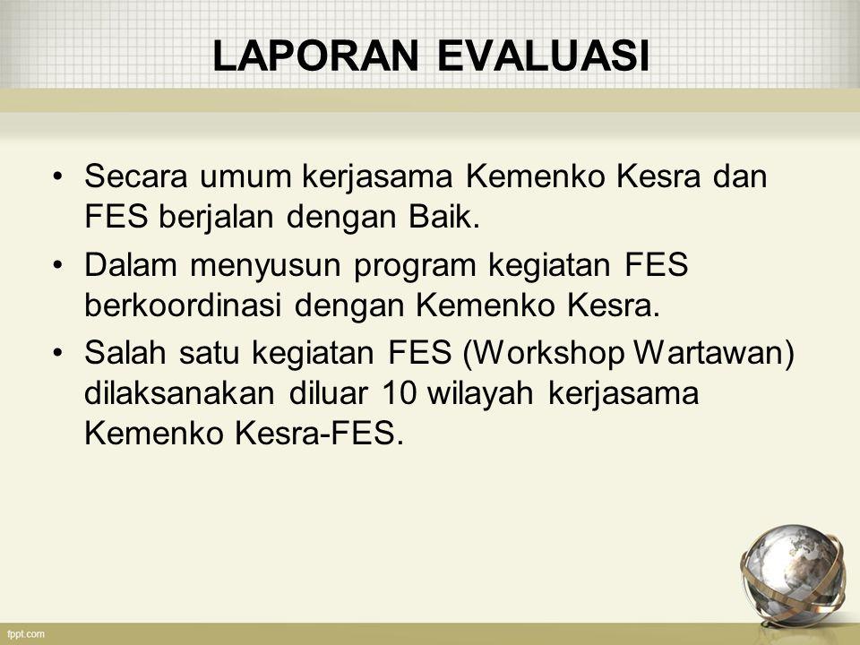 KOMPONEN PROGRAM / KEGIATAN FES 1.Penguatan / Peningkatan Jaminan Sosial 2.Peningkatan Pertumbuhan yang Inklusif 3.Peningkatan Kesadaran dan Pemahaman Publik Tentang Perubahan Iklim 4.Pengembangan Perempuan dan Pemuda 5.Peningkatan Peran Indonesia dalam Kerangka Global