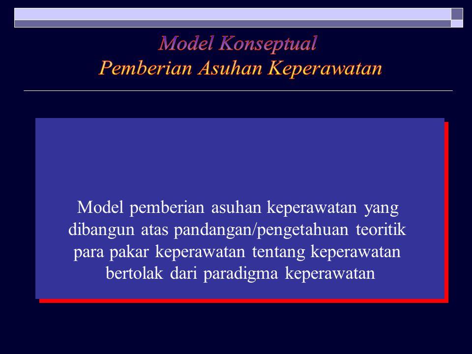 Model pemberian asuhan keperawatan yang dibangun atas pandangan/pengetahuan teoritik para pakar keperawatan tentang keperawatan bertolak dari paradigm