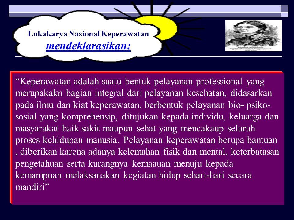 """Lokakarya Nasional Keperawatan mendeklarasikan: """"Keperawatan adalah suatu bentuk pelayanan professional yang merupakakn bagian integral dari pelayanan"""